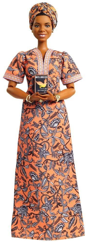 Barbie GXF46 - Inspiring Women Maya Angelou lalka (ok. 30 cm) z sukienką, stojakiem dla lalek i certyfikatem autentyczności, prezent dla dzieci i kolekcjonerów,