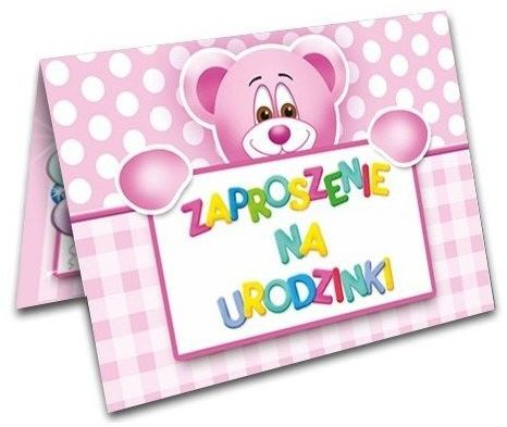 Zaproszenia na Urodziny dziewczynki z kopertami 10 sztuk ZX6400-10x