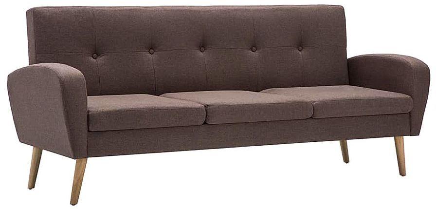 Trzyosobowa sofa pikowana brązowa - Anita 3Q