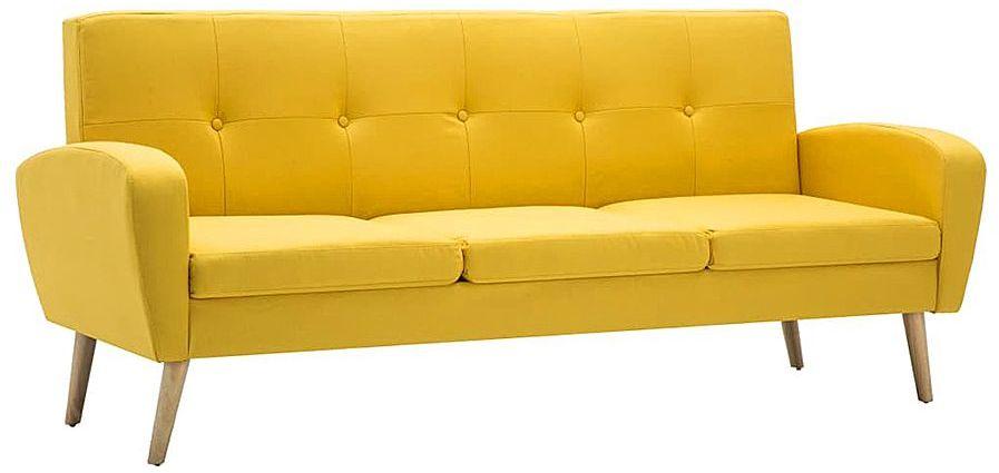 Trzyosobowa sofa pikowana żółta - Anita 3Q