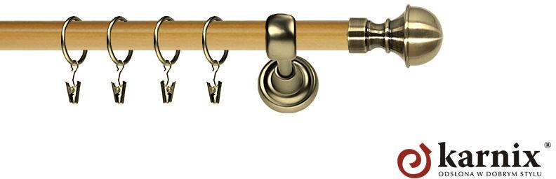 Karnisz Metalowy Prestige pojedynczy 25mm Bella Antyk mosiądz - pinia