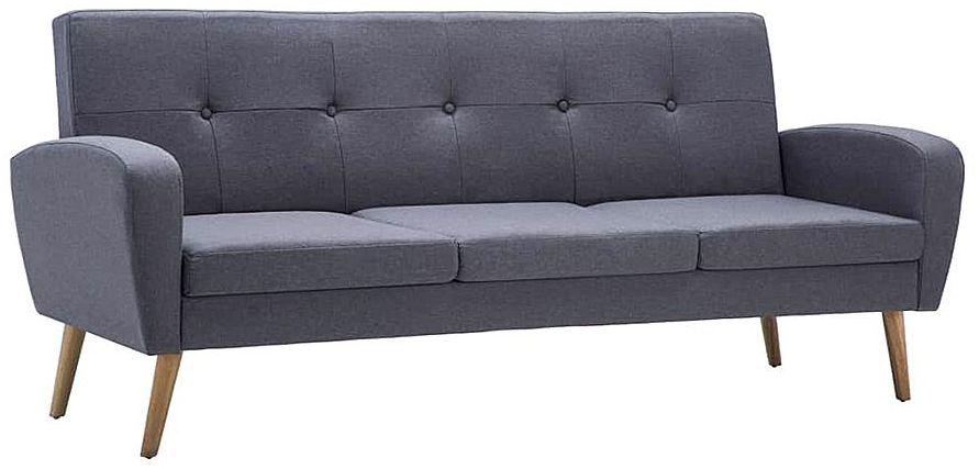 Trzyosobowa sofa pikowana jasnoszara - Anita 3Q