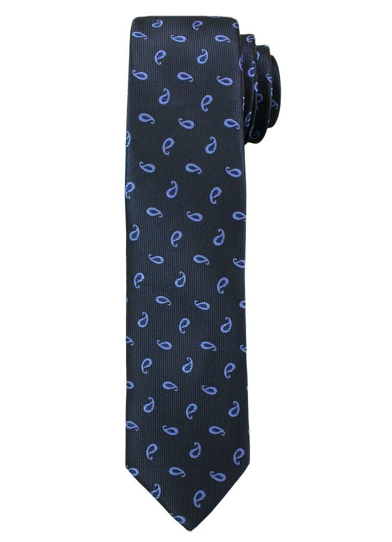 Ciemnogranatowy Elegancki Męski Krawat -ALTIES- Błękitny Wzór Paisley KRALTS0213