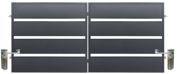 Brama z automatem Polbram Steel Group Leda 350 x 158 cm ocynk antracyt