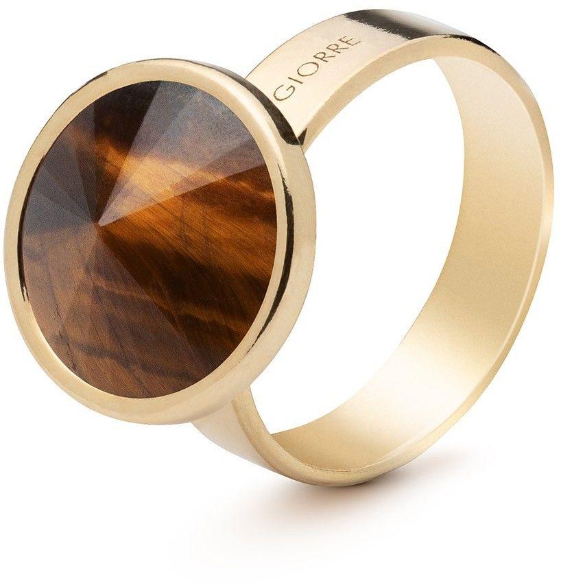 Srebrny pierścionek z naturalnym kamieniem - ciemnym, srebro 925 : Kamienie naturalne - kolor - tygrysie oko, ROZMIAR PIERŚCIONKA - 11 UK:L 16,00 MM, Srebro - kolor pokrycia - Pokrycie żółtym 18K z