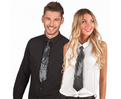 Czarny krawat z cekinami