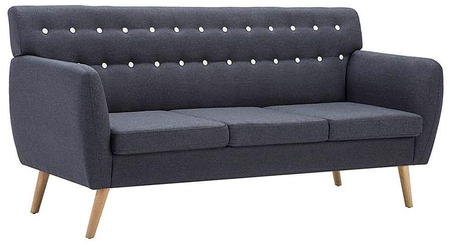 3-osobowa ciemnoszara sofa pikowana - Lilia