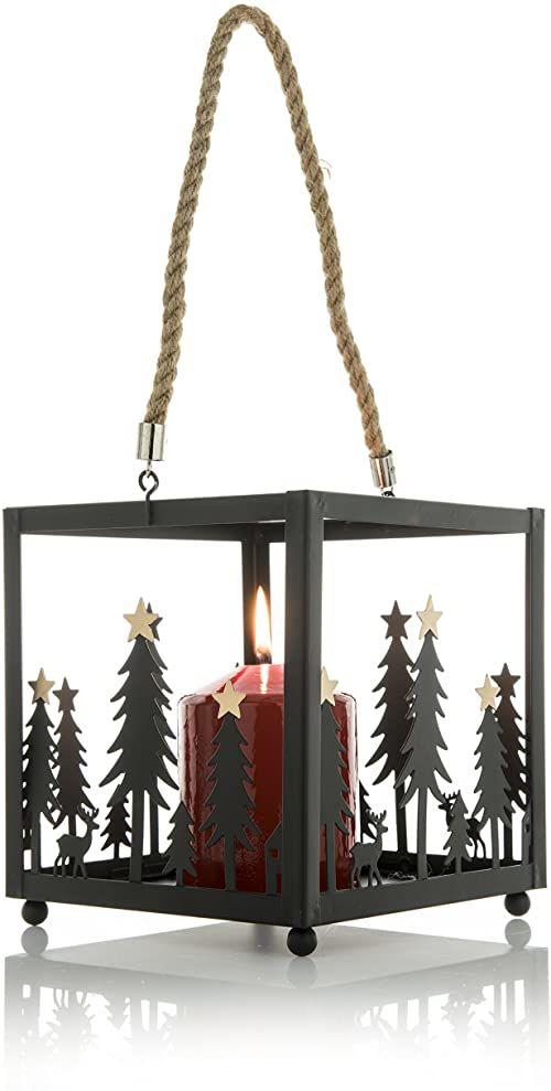 Es lebe 100377 latarnia, metalowa, czarna, 17 x 17 x 18,5 cm