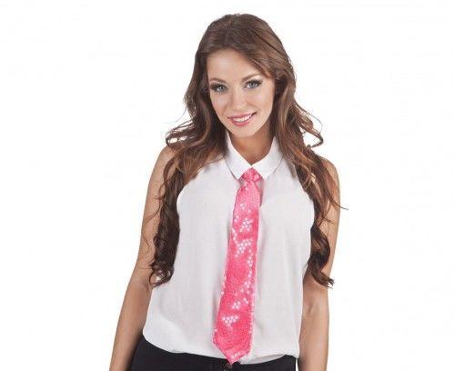 Różowy krawat z cekinami
