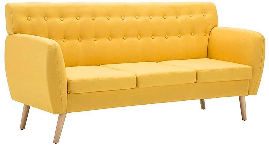 3-osobowa żółta sofa pikowana - Lilia