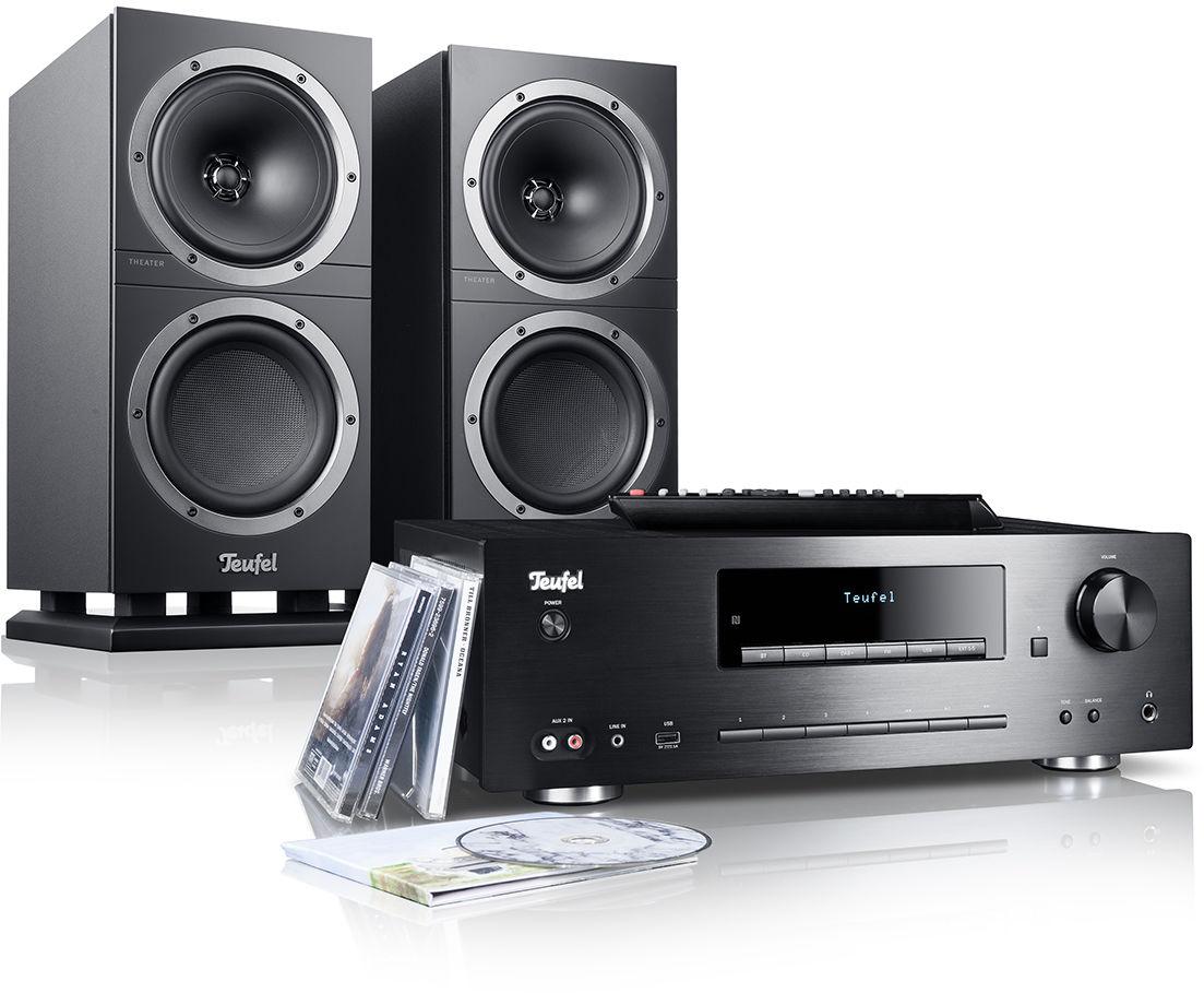 Teufel KOMBO 500S kolumny stereo czarne, wieża CD