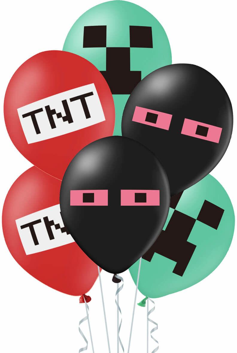 Balony z nadrukiem Piksele TNT + wstążka - 30 cm - 12 szt.