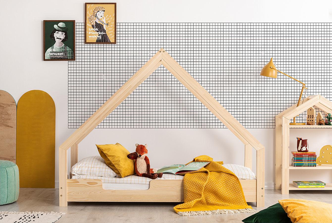 Drewniane łóżko w formie domku Rosie 5S - 28 rozmiarów
