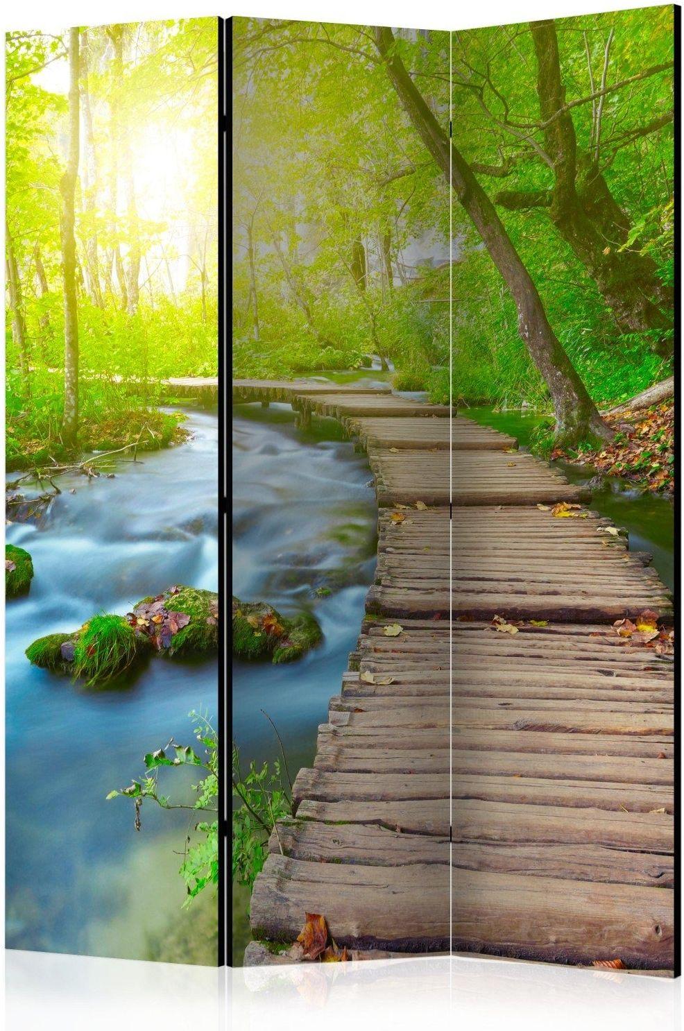 Parawan 3-częściowy - zielony las [room dividers]