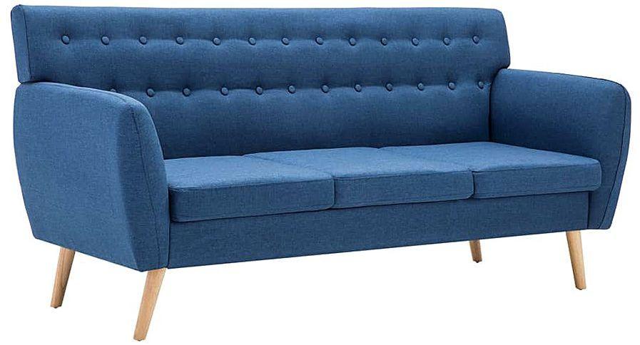 3-osobowa niebieska sofa pikowana - Lilia