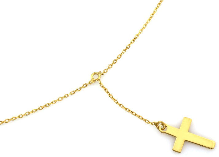 Srebrny naszyjnik 925 pozłacana celebrytka krzyż 1,74 g