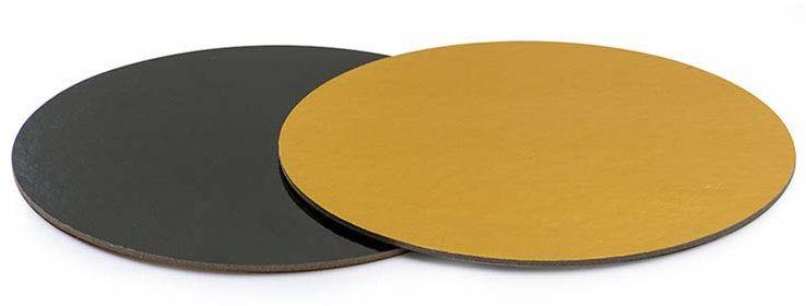 DECORA Płytka do tortu złoto/czarna Ø 24 CMx2 mm