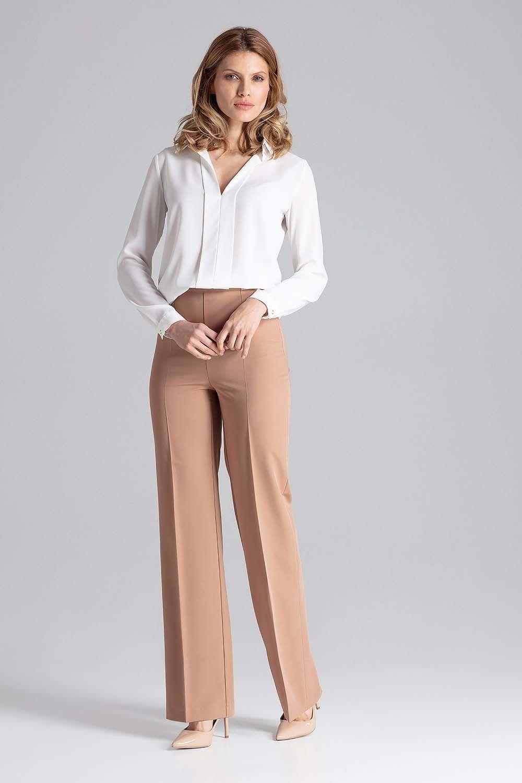 Brązowe szerokie spodnie w kant