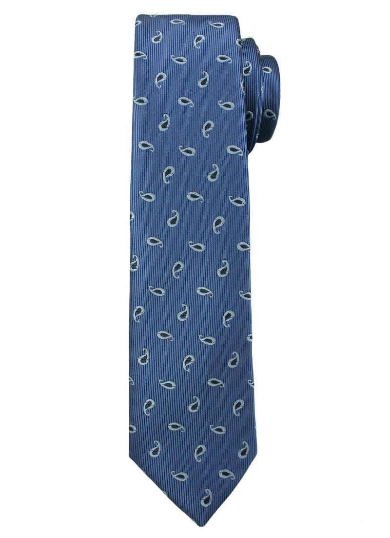 Niebieski Elegancki Męski Krawat -ALTIES- 6cm, Wzór Paisley, Klasyczny KRALTS0211