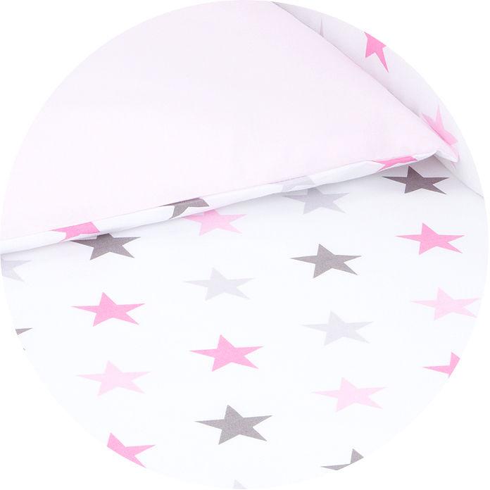 MAMO-TATO dwustronna pościel 2-el Gwiazdki szare i różowe D / jasny róż do łóżeczka 60x120cm