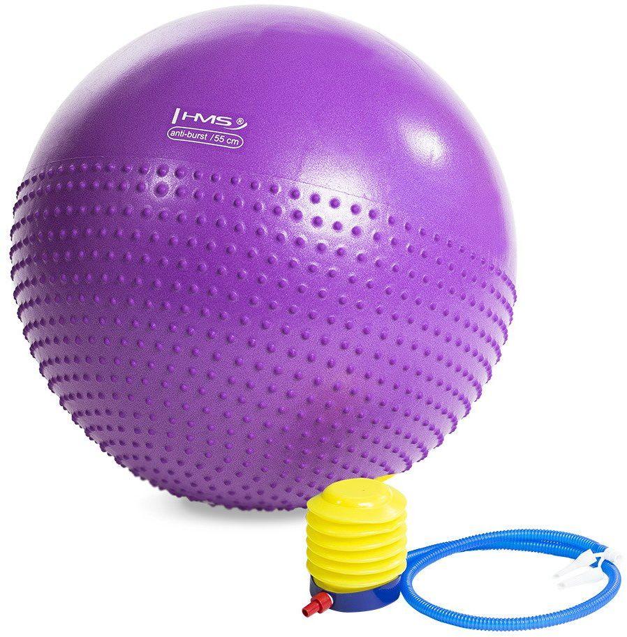 Piłka gimnastyczna masująca YB03 55 cm fioletowa - HMS - filoletowy