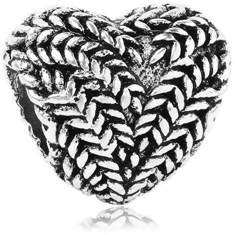 Rodowany srebrny charms do pandora serce serduszko kłosy heart srebro 925 QS0108
