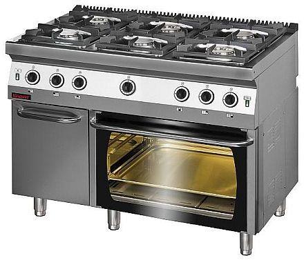 Kuchnia gastronomiczna gazowa 6-palnikowa z piekarnikiem gaz. KROMET 700.KG-6/PG-2/SD