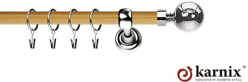 Karnisz Metalowy Prestige pojedynczy 25mm Kula INOX - pinia