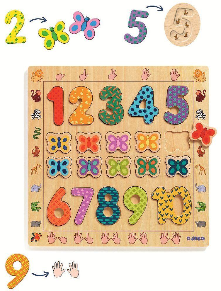 Drewniane cyfry do nauki liczenia 1 do 10 Motylki DJ01801-Djeco, układanka drewniana