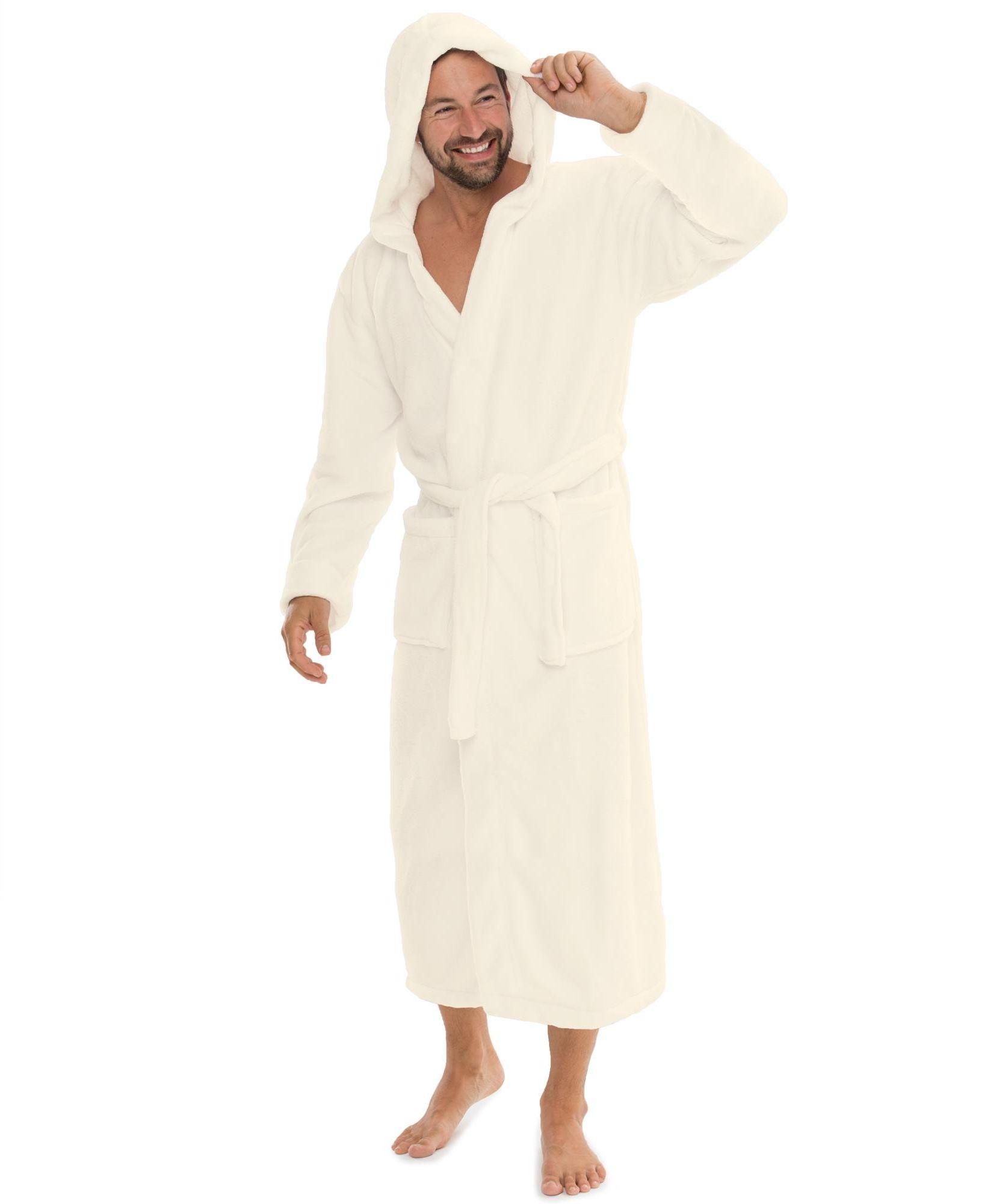 CelinaTex Florida szlafrok damski S kremowy biały szlafrok poranny męski Coral Fleece szlafrok do sauny z mikrofibry kaptur unisex