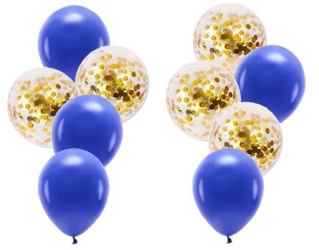 Zestaw balonów granatowe i ze złotym konfetti 10 sztuk ZB40