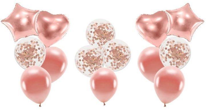 Zestaw balonów w kolorze różowe złoto 14 sztuk SL12