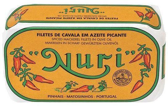 Filety z makreli portugalskie pikantne w oliwie z oliwek NURI 120g