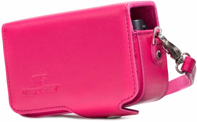 MegaGear Canon PowerShot SX740 HS, SX730 HS skórzana torba na aparat z paskiem do noszenia - różowa