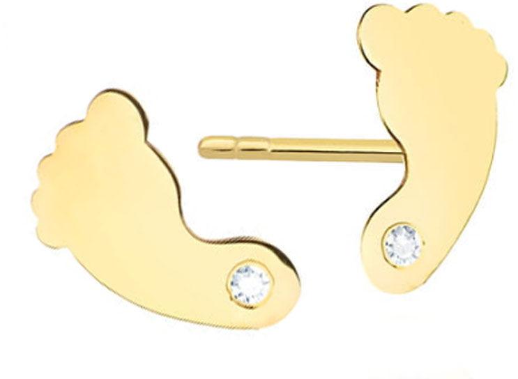 Złote kolczyki 585 celebrytki stópki z diamentami
