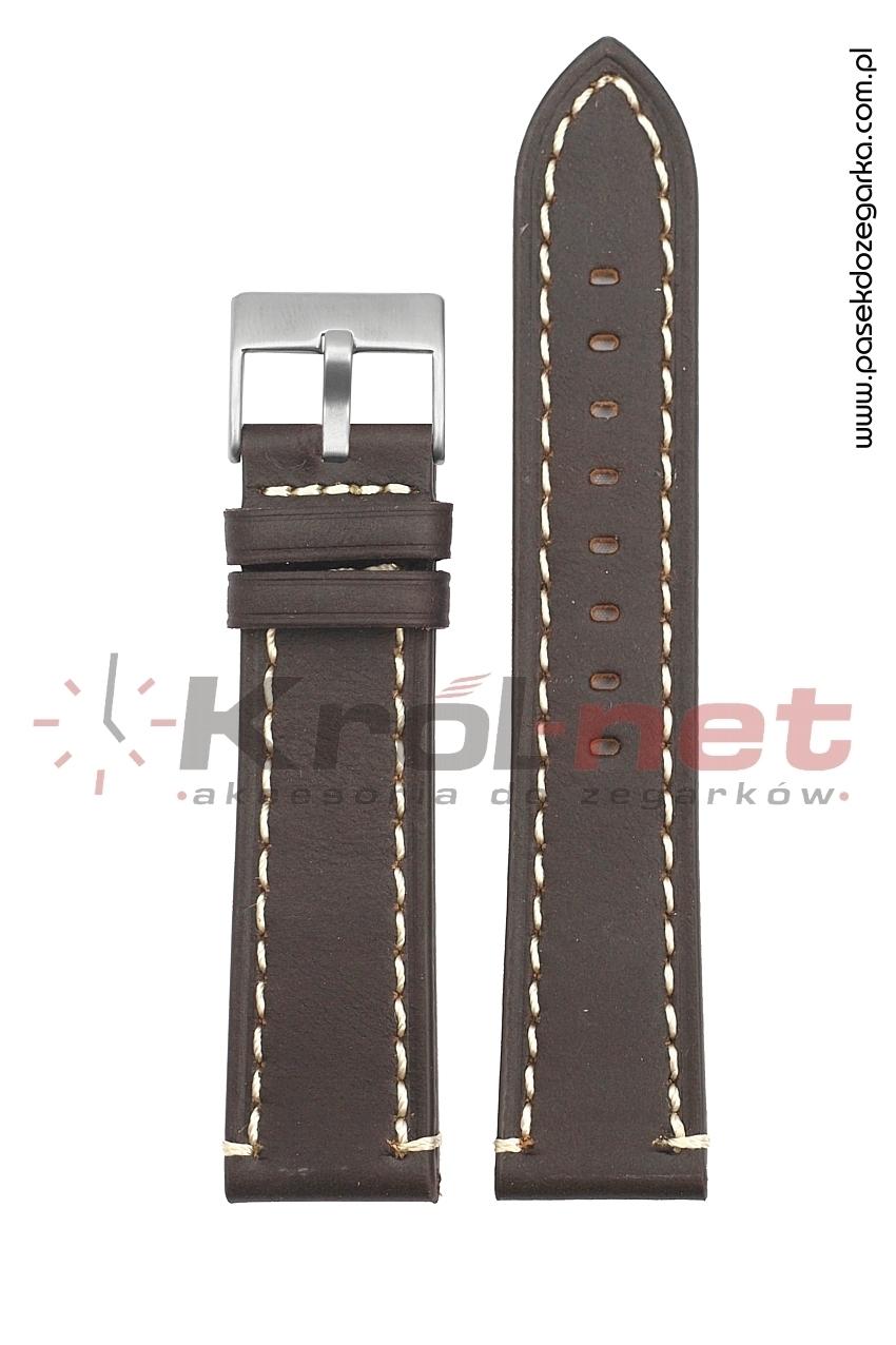Pasek TK018BR/B/24 - brązowy, przeszywany