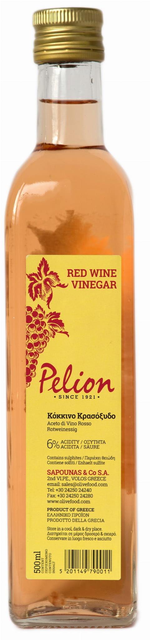 Grecki Ocet Winny Czerwony 500ml - Pelion
