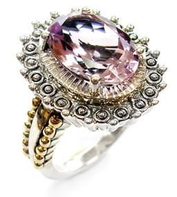 PRIMADONNA Srebrny pierścionek z wielkim różowym ametystem 6,6 ct