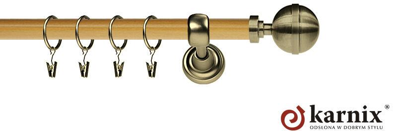 Karnisz Metalowy Prestige pojedynczy 25mm Kula Elegant Antyk mosiądz - pinia