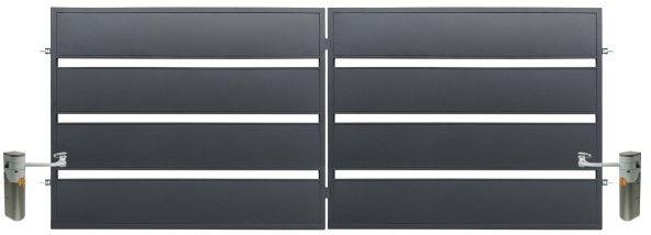 Brama z automatem Polbram Steel Group Leda 400 x 158 cm ocynk antracyt