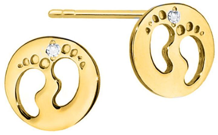 Złote kolczyki 585 celebrytki stópki w kółeczku z diamentami