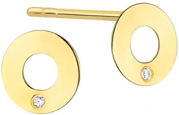 Złote kolczyki 585 celebrytki ringi z diamentami