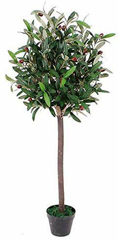 Leaf Design UK sztuczne drzewko oliwkowe w czarnym plastikowym doniczce, 90 cm (3 stóp)