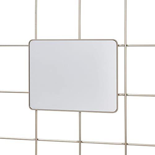 iDesign Lustro wiszące do systemu modułowego, małe lustro ścienne wykonane z metalu do korytarza i łazienki, prostokątne lustro do holu do siatki ściennej, matowe srebro