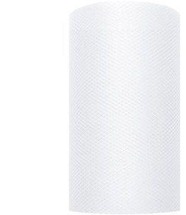 Tiul dekoracyjny biały 8cm x 20m 1 rolka TIU8-008