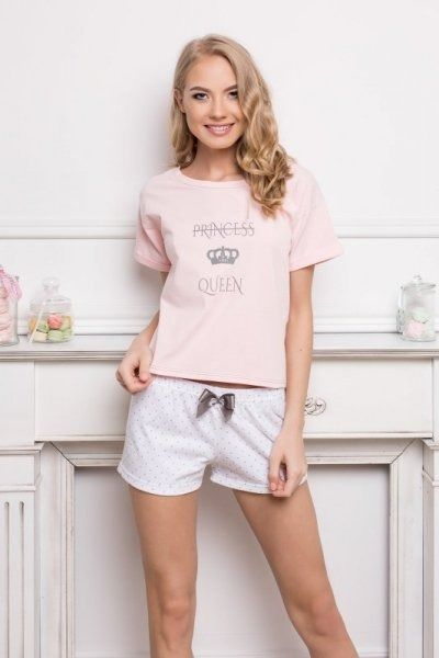 Aruelle princess queen short dots & pink piżama damska