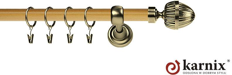 Karnisz Metalowy Prestige pojedynczy 25mm Milano Antyk mosiądz - pinia