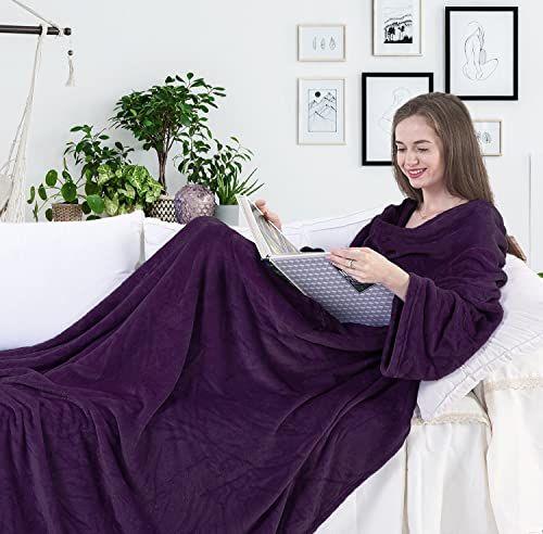 DecoKing koc z rękawami i kieszeniami 150 x 180 cm mikrofibra miękki ciepły fioletowy Lazy