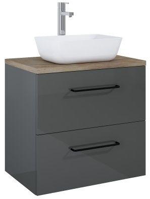 SZAFKA z umywalką FUTURIS 70x64x45,6cm 2S kolor ANTHRACITE/dąb