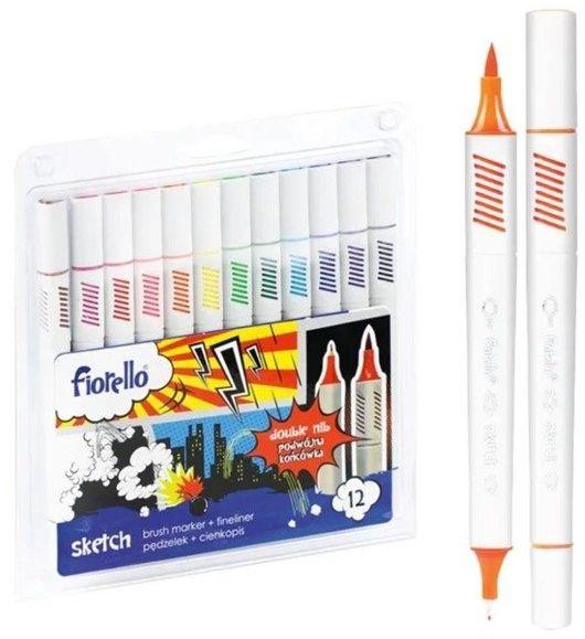 Pisaki Sketch dwustronne 12 kolorów FIORELLO